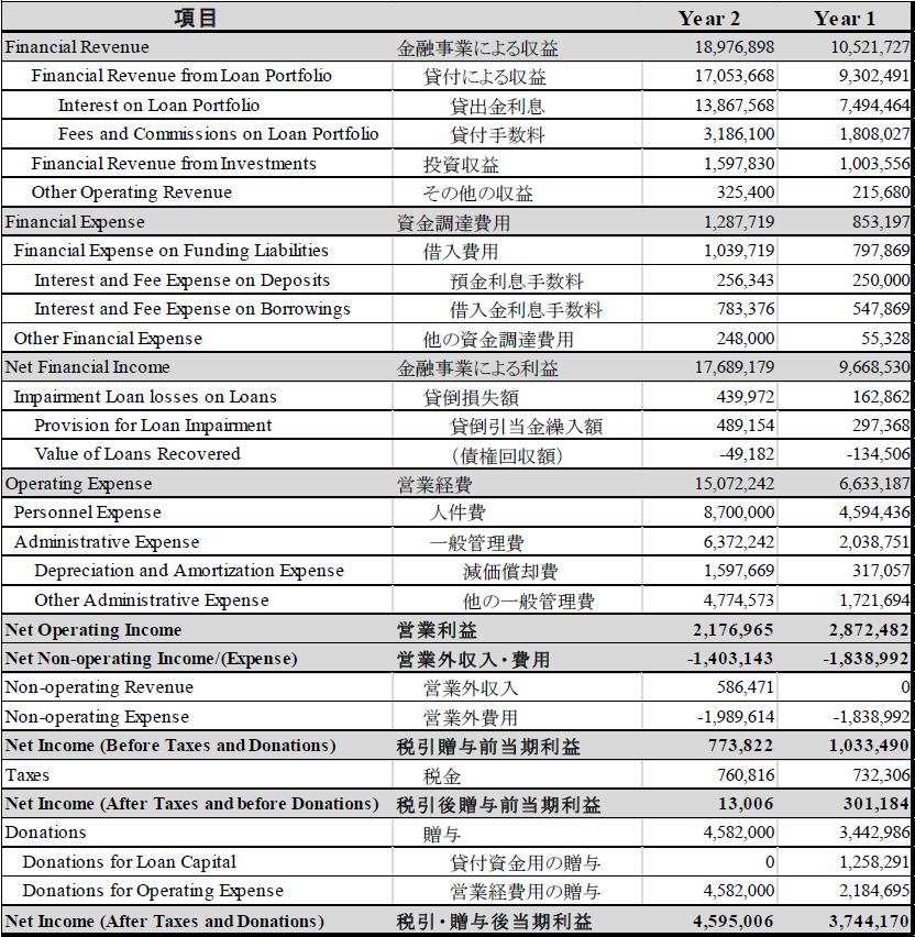 別添1 MF機関の財務諸表の例 表A:損益計算書の例