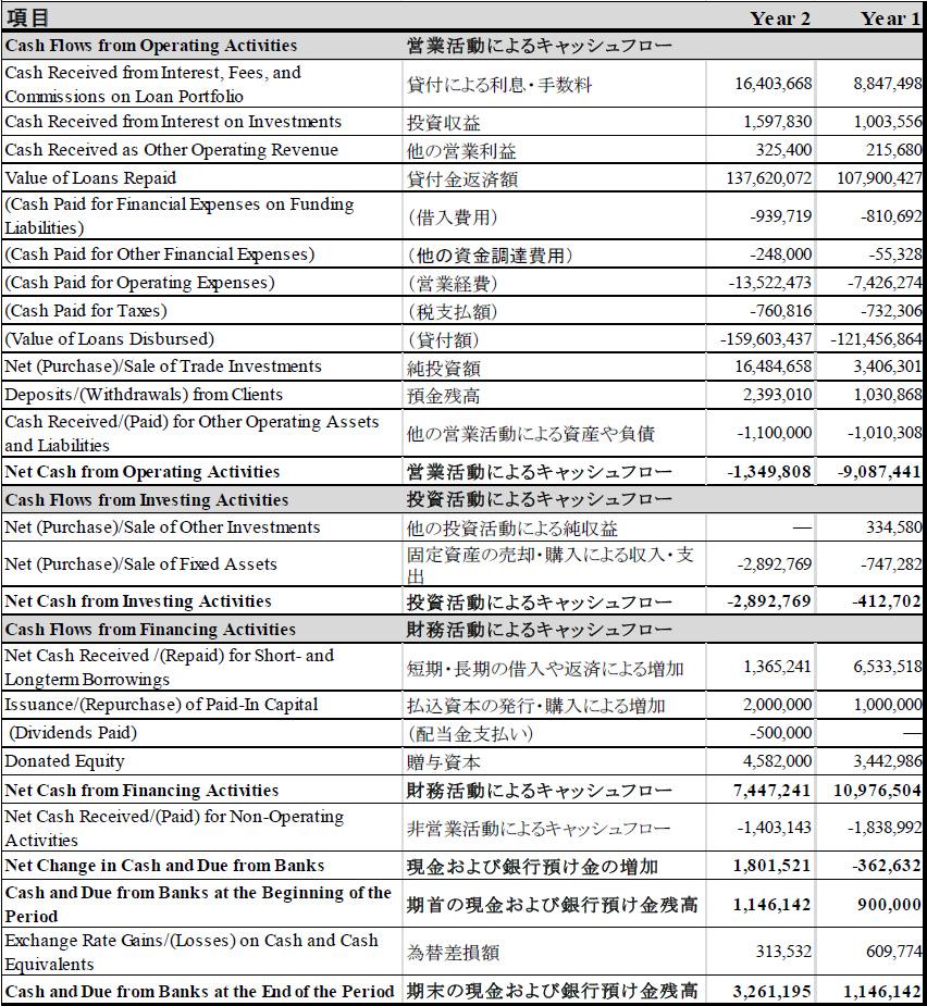 別添1 MF機関の財務諸表の例 表C:キャッシュフロー計算書の例