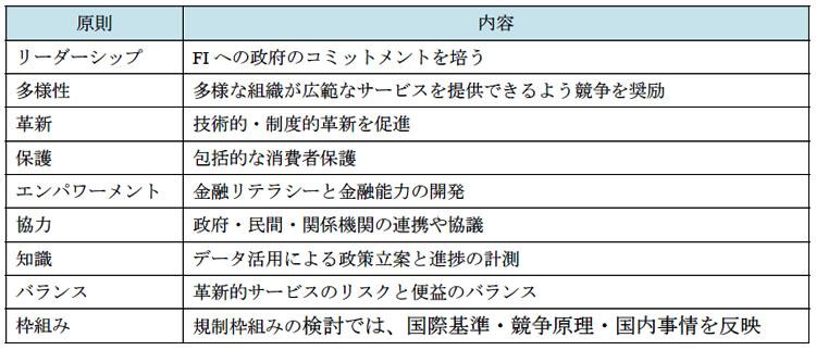 表2-2 G20革新的なFIのための原則
