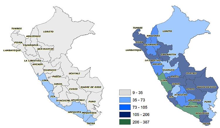 図2-5 ペルーの成人10万人当たりの金融サービス拠点の数 2006年および2013年